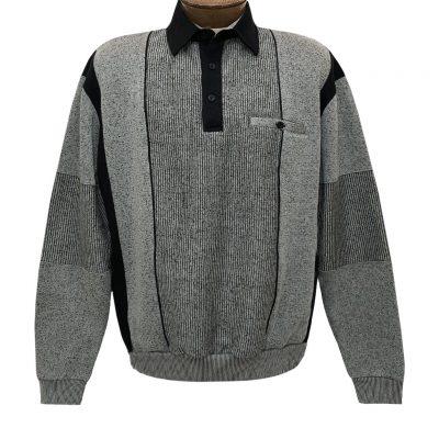 Mens Classics By Palmland Long Sleeve Vertical Fleece Pieced Banded Bottom Shirt 6094-165B Medium Grey