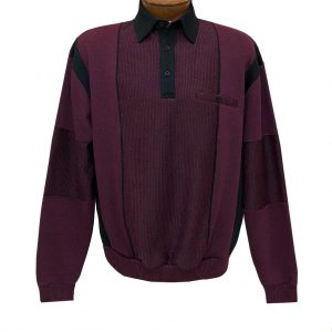 Men's Classics By Palmland Long Sleeve Vertical Fleece Pieced Banded Bottom Shirt 6094-165B Wine