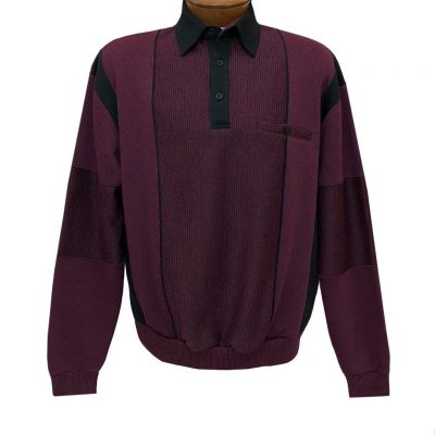 Mens Classics By Palmland Long Sleeve Vertical Fleece Pieced Banded Bottom Shirt 6094-165B Wine