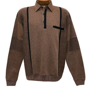 Men's Classics By Palmland Long Sleeve Vertical Fleece Pieced Banded Bottom Shirt BL-4B Bronze