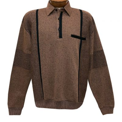 Mens Classics By Palmland Long Sleeve Vertical Fleece Pieced Banded Bottom Shirt BL-4B Bronze