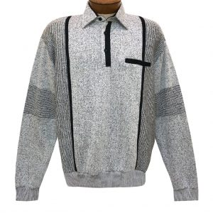 Men's Classics By Palmland Long Sleeve Vertical Fleece Pieced Banded Bottom Shirt BL-4B Grey Heather