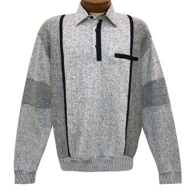 Mens Classics By Palmland Long Sleeve Vertical Fleece Pieced Banded Bottom Shirt BL-4B Grey Heather
