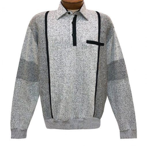 Mens Classics By Palmland Long Sleeve Vertical Fleece Pieced Banded Bottom Shirt BL-4B Grey Heather