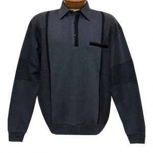 Men's Classics By Palmland Long Sleeve Vertical Fleece Pieced Banded Bottom Shirt BL-4B Slate