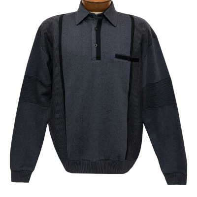 Mens Classics By Palmland Long Sleeve Vertical Fleece Pieced Banded Bottom Shirt BL-4B Slate