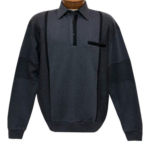 Mens Classics By Palmland Long Sleeve Vertical Fleece Pieced Banded Bottom Shirt BL-4B Slate