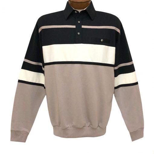 Men's LD Sport By Palmland Long Sleeve Tailored Collar Horizontal Pieced Banded Bottom Shirt #6094-736 Black