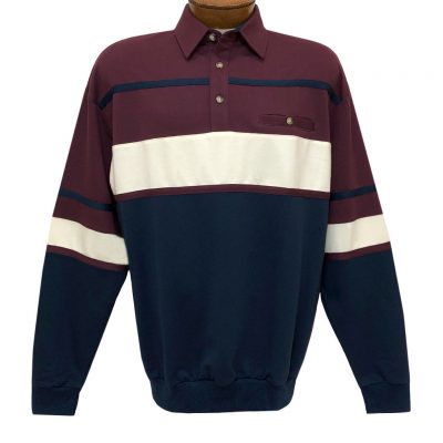 Men's LD Sport By Palmland Long Sleeve Tailored Collar Horizontal Pieced Banded Bottom Shirt #6094-736 Burgundy