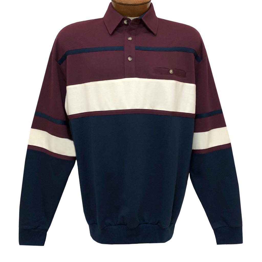 Men's LD Sport By Palmland Long Sleeve Tailored Collar Horizontal Pieced Banded Bottom Shirt #6094-736 Burgundy