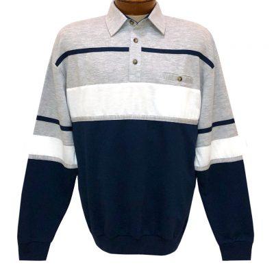 Men's LD Sport By Palmland Long Sleeve Tailored Collar Horizontal Pieced Banded Bottom Shirt #6094-736 Grey Heather