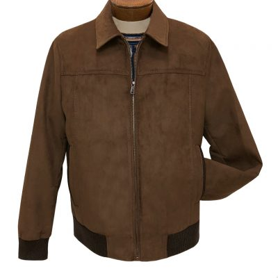 Men's ENZO All Over Faux Suede With Knit Trim Collared Zip Front Jacket, Cory-2 Mocha/Tan