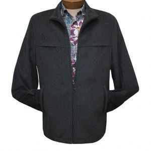 Men's ENZO Cashmere Blend Zipper Front Jacket, Play #54801-3 Charcoal