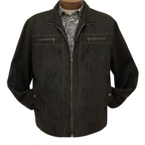 Men's ENZO Faux Suede With Knit Trim Mock Neck Bomber Zip Front Jacket, Harrison-1 Dark Taupe