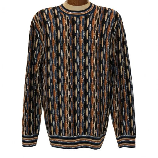 Men's F/X Fusion Honeycomb Textured Novelty Crew Neck Sweater #3006 Acorn