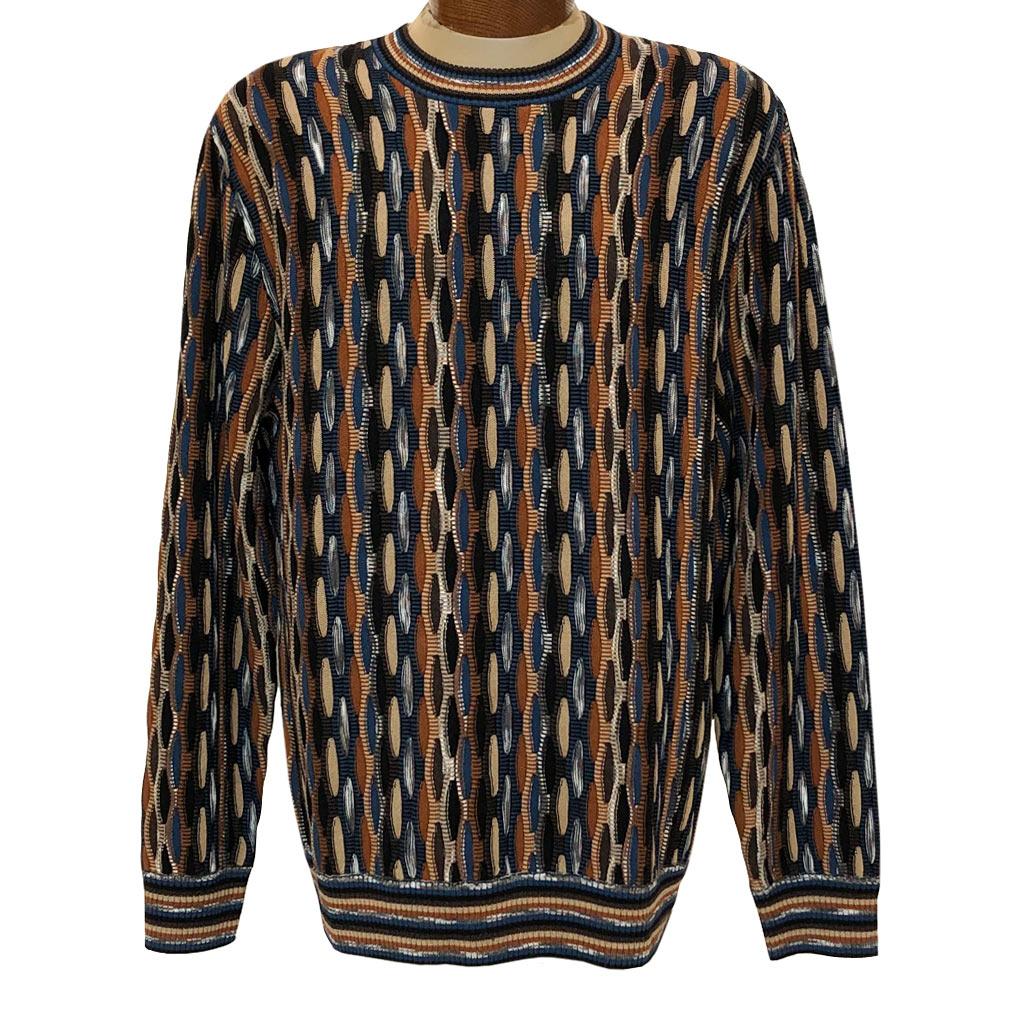 Men's F/X Fusion Honeycomb Textured Novelty Crew Neck Sweater #3006 Acorn