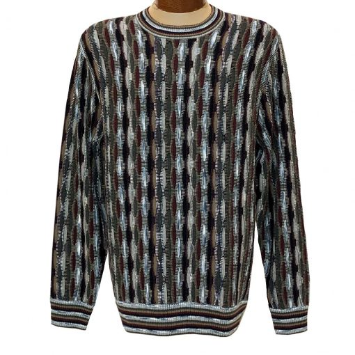 Men's F/X Fusion Honeycomb Textured Novelty Crew Neck Sweater #3006 Port