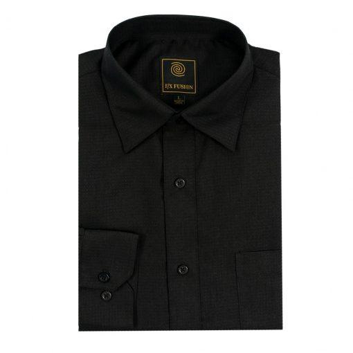Men's F/X Fusion Long Sleeve Micro Dot Tonal Wrinkle Resistant Woven Sport Shirt #D1300 Black