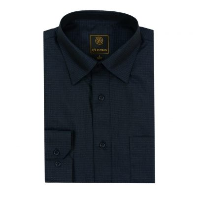 Men's F/X Fusion Long Sleeve Micro Dot Tonal Wrinkle Resistant Woven Sport Shirt #D1300 Indigo