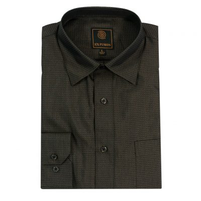 F/X Fusion Long Sleeve Micro Dot Tonal Wrinkle Resistant Woven Sport Shirt #D1300 Taupe