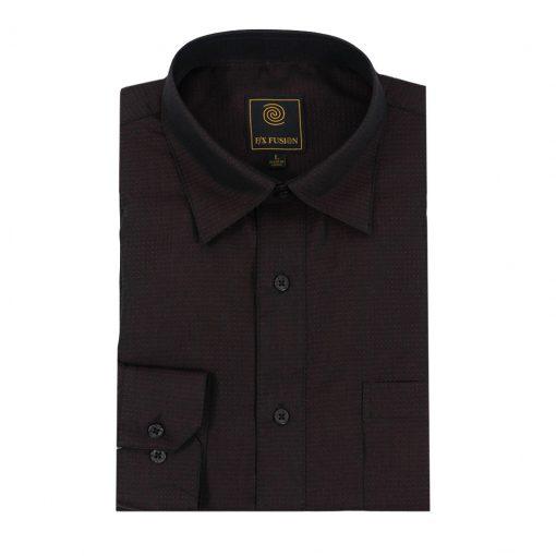Men's F/X Fusion Long Sleeve Micro Dot Tonal Wrinkle Resistant Woven Sport Shirt #D1300 Zinfandel