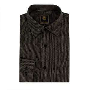 Men's F/X Fusion Long Sleeve Micro Textured Jacquard Wrinkle Resistant Woven Sport Shirt #D1309 Black/Tan (XL, ONLY!)