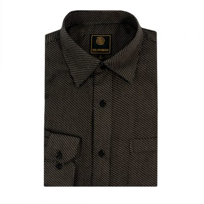 Men's F/X Fusion Long Sleeve Micro Textured Jacquard Wrinkle Resistant Woven Sport Shirt #D1309 Black/Tan