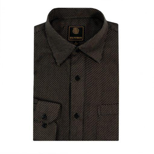 Men's F/X Fusion Long Sleeve Micro Textured Jacquard Wrinkle Resistant Woven Sport Shirt #D1309 Black/Tan