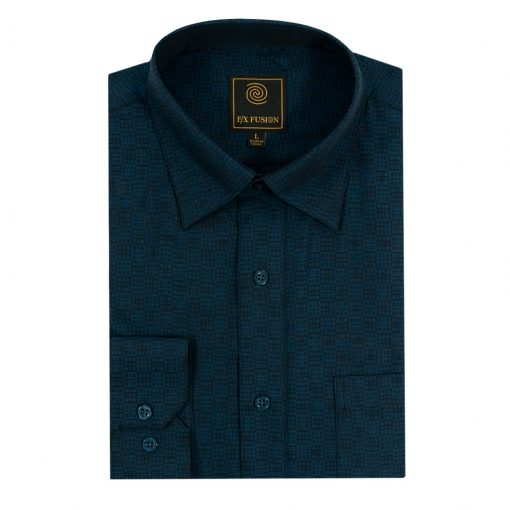 Men's F/X Fusion Long Sleeve Stacked Squares Wrinkle Resistant Woven Sport Shirt #D1311 Mallard