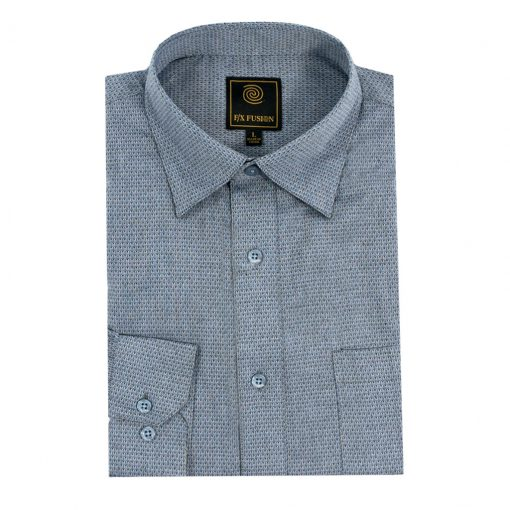 Men's F/X Fusion Long Sleeve Textured Diamond Jacquard Wrinkle Resistant Woven Sport Shirt #D1320 Blue