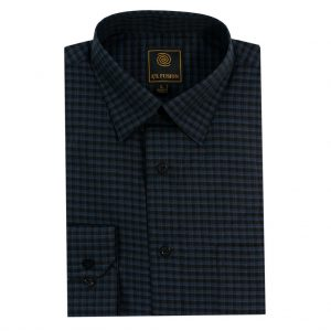Men's F/X Fusion Long Sleeve Tonal Check Wrinkle Resistant Woven Sport Shirt #D1322 Navy/Black (XL & XXL, ONLY!)