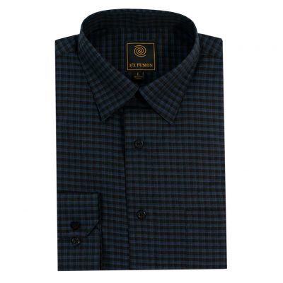 Men's F/X Fusion Long Sleeve Tonal Check Wrinkle Resistant Woven Sport Shirt #D1322 Navy/Black