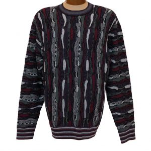 Men's F/X Fusion Vertical Multi Structural Textured Novelty Crew Neck Sweater #3008 Burgundy