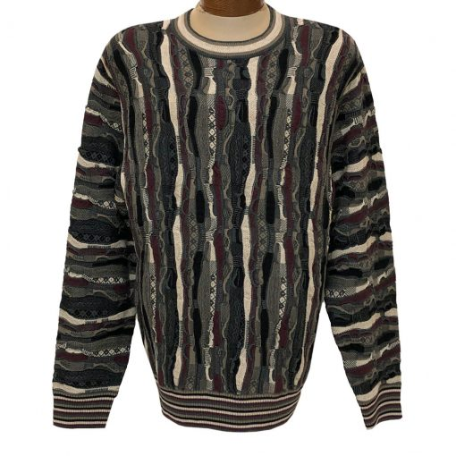 Men's F/X Fusion Vertical Multi Structural Textured Novelty Crew Neck Sweater #3008 Charcoal