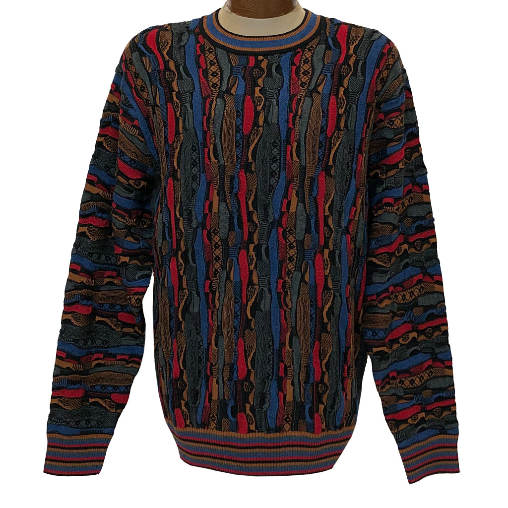 Men's F/X Fusion Vertical Multi Structural Textured Novelty Crew Neck Sweater #3008 Red