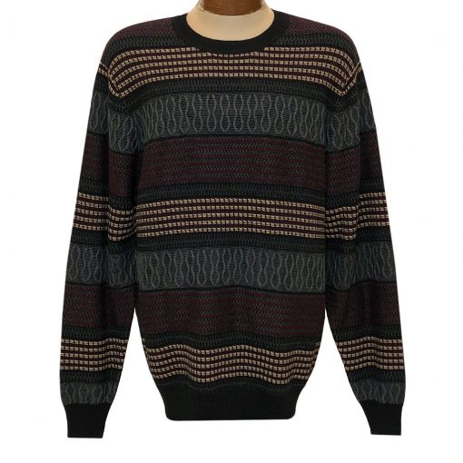 Men's F/X Fusion Textured Novelty Crew Neck Sweater #3010 Vino