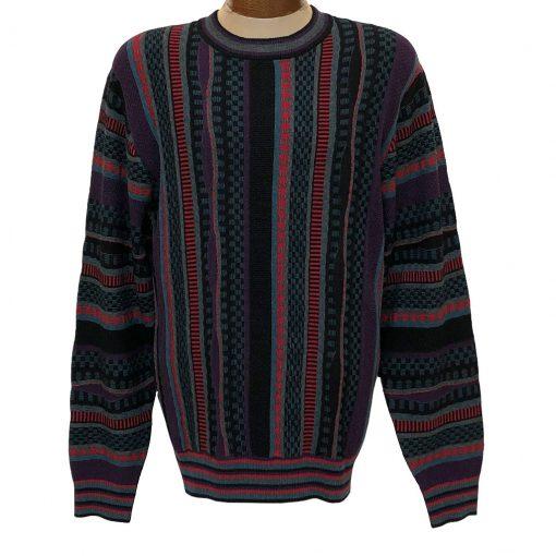 Men's F/X Fusion Vertical Multi Stitch Textured Novelty Crew Neck Sweater #3007 Black