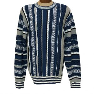 Men's F/X Fusion Vertical Multi Stitch Textured Novelty Crew Neck Sweater #3007 Blue
