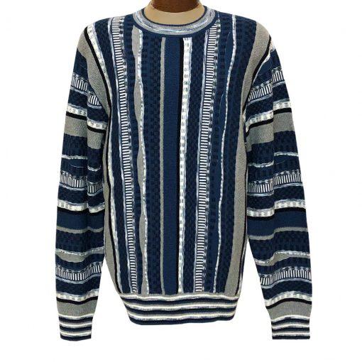 Men's F/X Fusion Vertical Multi Stitch Textured Novelty Crew Neck Sweater #3007 Blue