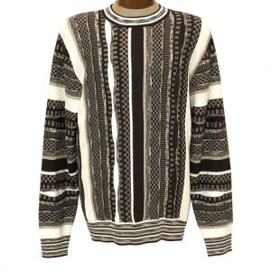 Men's  F/X Fusion Vertical Multi Stitch Textured Novelty Crew Neck Sweater #3007 Oatmeal