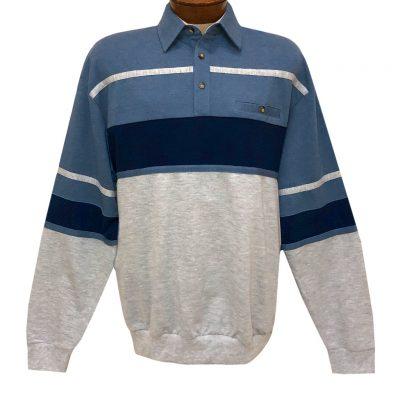 Men's LD Sport By Palmland Long Sleeve Tailored Collar Horizontal Pieced Banded Bottom Shirt #6094-736 Blue Heather