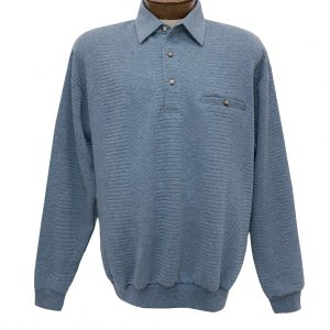 Men's Classics – LD Sport By Palmland Long Sleeve Solid Textured Banded Bottom Shirt #6094-950, Light Blue