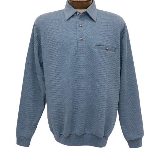 Men's Classics - LD Sport By Palmland Long Sleeve Solid Textured Banded Bottom Shirt #6094-950, Light Blue
