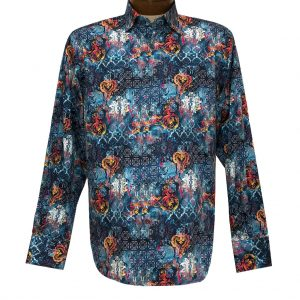 Men's Luchiano Visconti Signature Collection Multi Abstract Print Long Sleeve Sport Shirt #4372 Blue/Multi (M & XXL, ONLY!)
