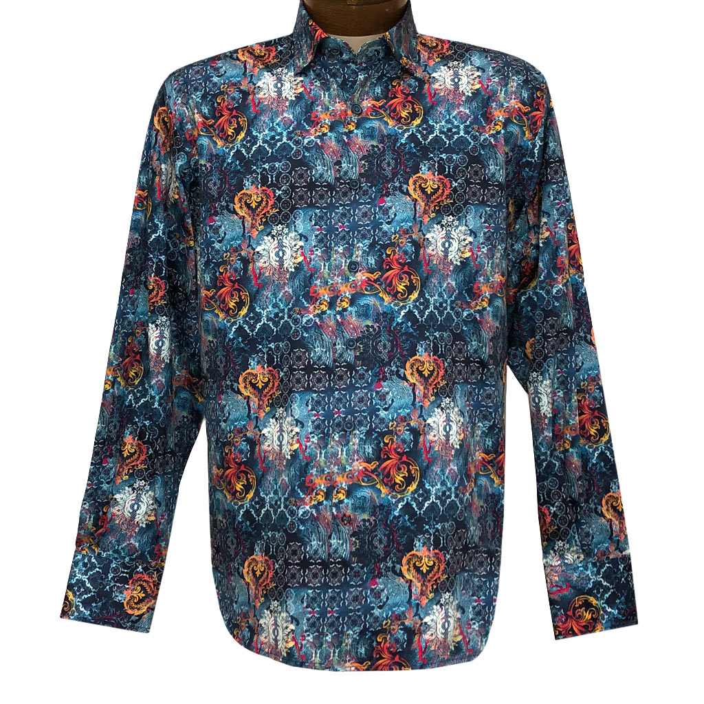 Men's Luchiano Visconti Signature Collection Multi Abstract Print Long Sleeve Sport Shirt #4372 Blue/Multi