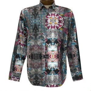 Men's Luchiano Visconti Signature Collection Abstract Print Long Sleeve Sport Shirt #4392 Grey/Multi (M & XL, ONLY!)