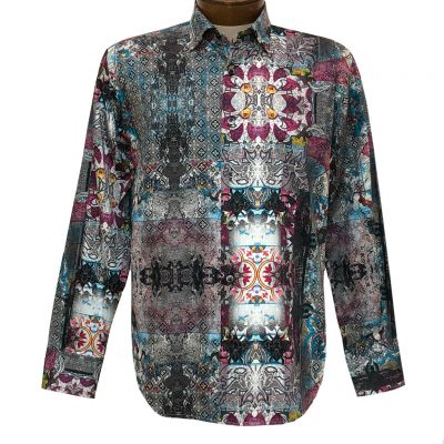 Men's Luchiano Visconti Signature Collection Abstract Print Long Sleeve Sport Shirt #4392 Grey/Multi