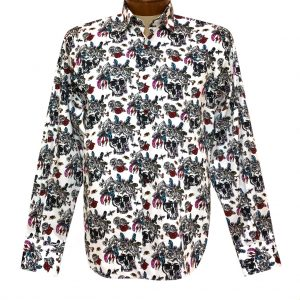 Men's Luchiano Visconti Signature Collection Abstract Skulls Long Sleeve Sport Shirt #4394 White/Multi