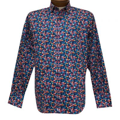 Men's Luchiano Visconti Signature Collection Multi Hashtags Abstract Print Long Sleeve Sport Shirt #4371 Blue/Multi
