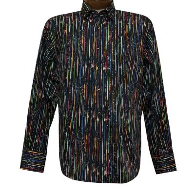 Men's Luchiano Visconti Signature Collection Multicolor Daggered Print Long Sleeve Sport Shirt #4395 Black/Multi